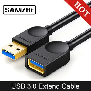 SAMZHE USB 3.0/2.0 Extension Cable Flat Extend Cable AM/AF 0.5m/1m/1.5m/2m/3m For PC TV PS4 Computer Laptop Extender(China)