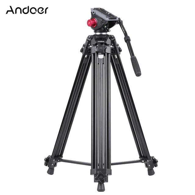 Andoer Professional Tripod Aluminum Alloy Camera Tripod with Fluid