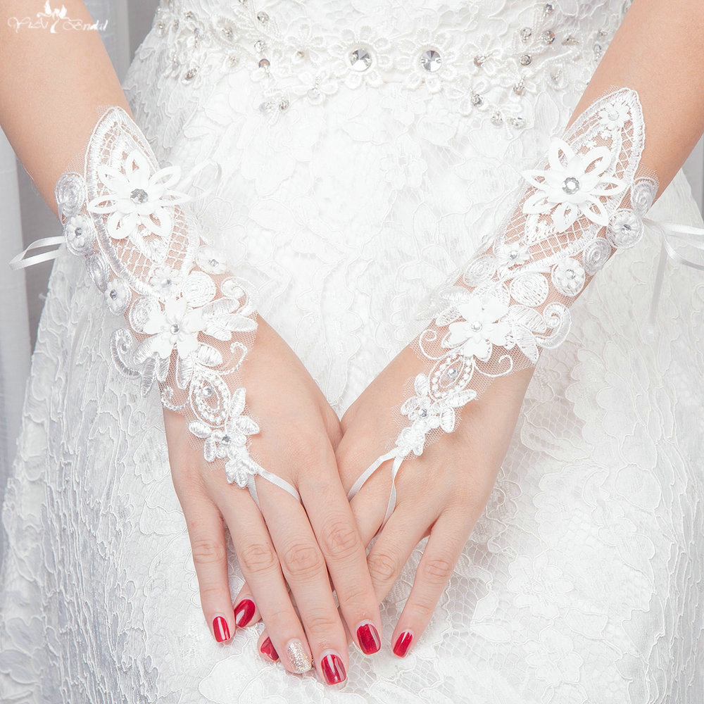 new product f0d31 1bcf8 LZP108 Crystal Flower Lace Up Lace Wedding Gloves Guanti Sposa