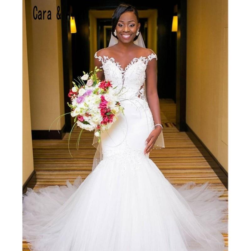 African Mermaid Wedding Dresses 2019 Sheer Neck Open Back