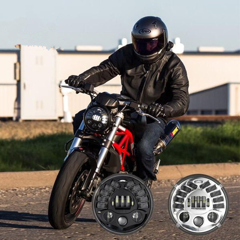 """for Harley Touring 7"""" Inch Round Led Projector moto Headlights + DRL+ Yellow Turn Signal +High Low Beam"""