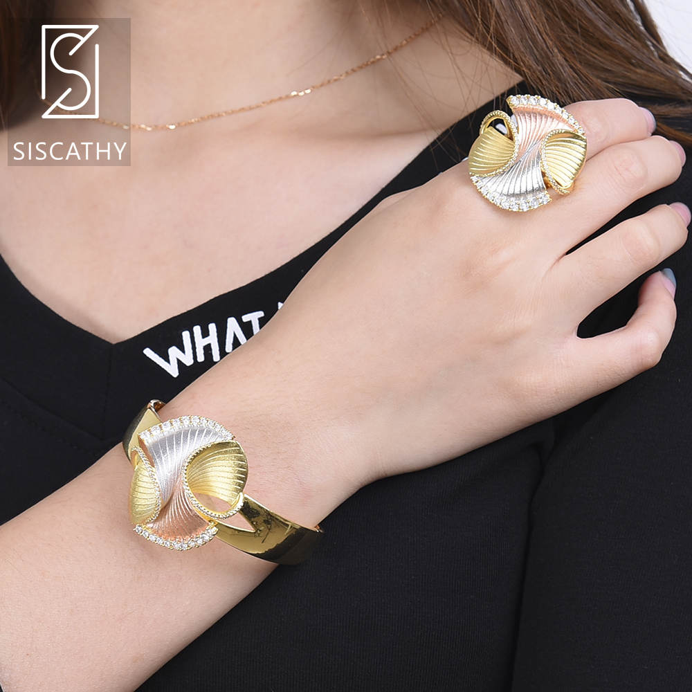 SISCATHY Luxury Geometric Shape Bracelet Rings Nigerian Wedding Jewelry Sets Three Tones Full Cubic Zirconia Inlaid Jewelry Sets in Jewelry Sets from Jewelry Accessories