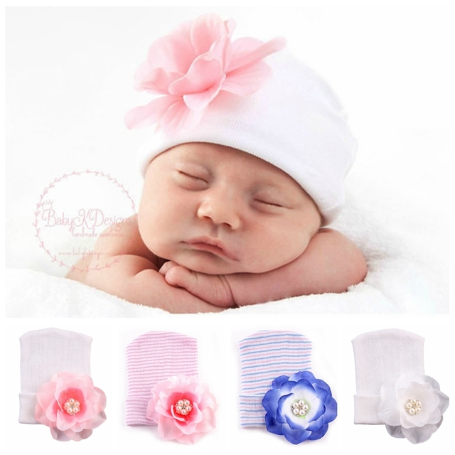 595fae7dc67 TongYouYuan DIY Baby Hats Crib Bebe Pram Newborn Infant Toddler Spring  Autumn Big Flower Knit Baby Hats Beanie Cap 0-6 Months