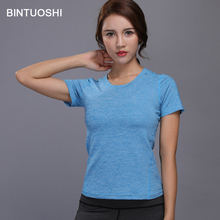 Running Sports T Shirt Women Fitness Yoga Clothes Quick Dry Elastic Bodybuilding Gym Workout Tops Shirts