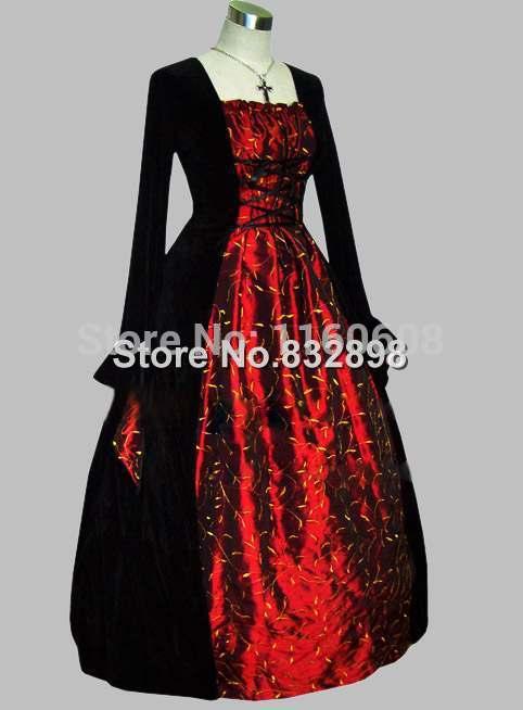 Черный и красный цвета сценический костюм тайский шелк готический платье викторианской бальные платья