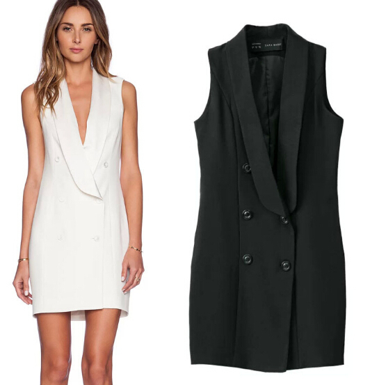 d034d242aebef free shipping 2015 za  double breasted brief notched dress sleeveless vest  dresses women dress black and white work office dress