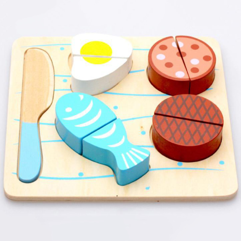 Kid Wooden Kitchen Toys Cutting Fruit and Vegetables Board Real Life Toy 6 Models Children Educational Toys for Baby Gift Unisex