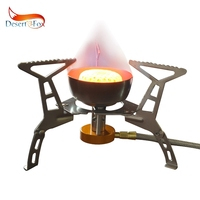 Desert&Fox Ultralight Stove, 3500W Windshield Camping Cookware Burner with Wire Hose,Portable Storage Box for Doldable Gas Stove