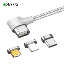 MANTIS 3 in 1 Magnetic Cable L Shape for iPhone 7 8 X 6S Plus for Xiaomi Redmi 4X Samsung S8 Note 8 Micro USB Type C Data Cable(China)