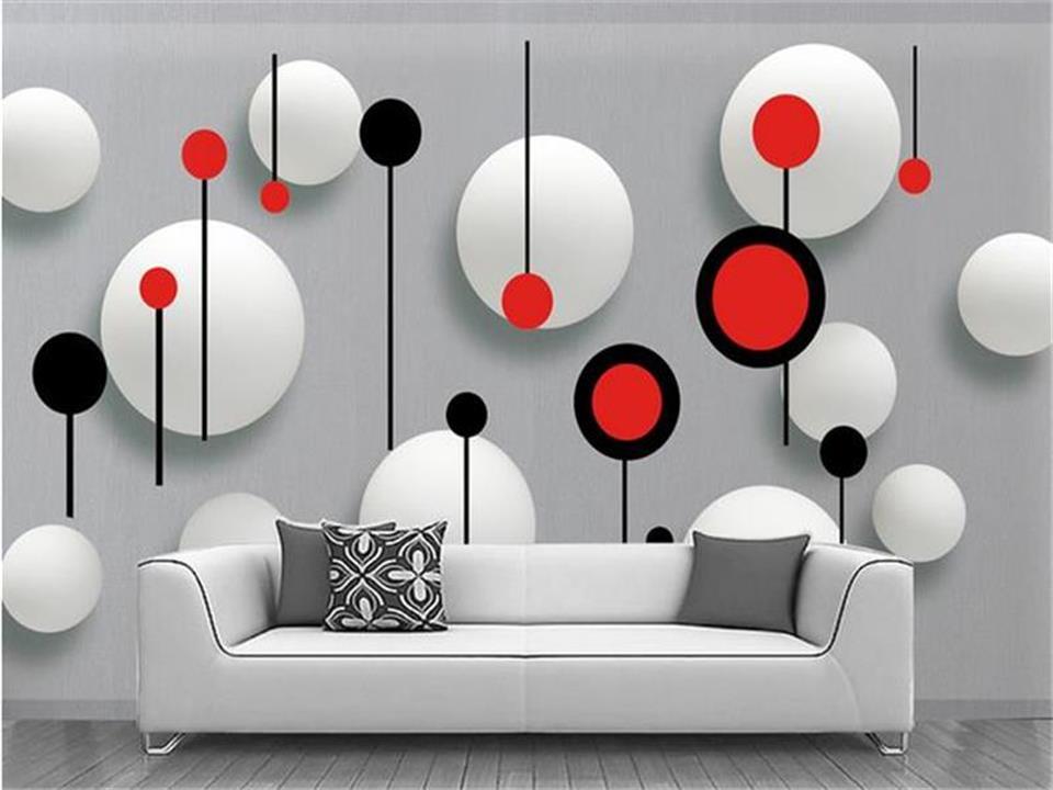 13 81 50 De Reduction Papier Peint 3d Photo Papier Peint Personnalise Mural Salon 3d Rouge Noir Blanc Cercles Peinture Fond Tv Papier Peint Pour