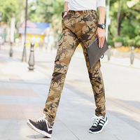1pcs Men Plus Size Pants Trousers 2017Spring Cotton Blended Pockets Khaki Camouflage Pants Men Slim Fit