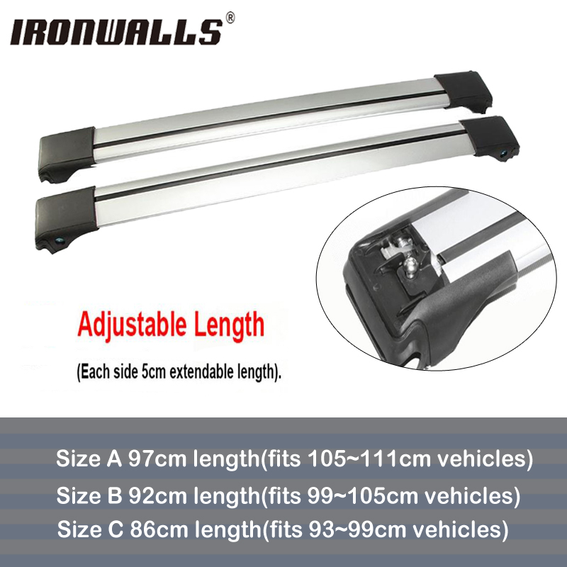 Ironwalls 2PCS Car Roof Rack Cross Bars For Top Luggage Cargo Basket Carrier Snowboard Bike With Lock System For 93 99 105 111cm