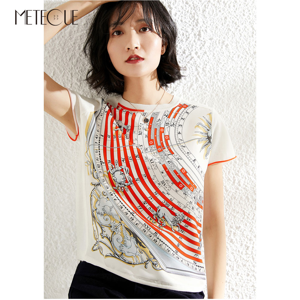 Silk Wool Patchwork Women Tee Shirt 2019 Spring Summer Fashion Printed Short Sleeve Women Tees 2019 Spring Summer-in T-Shirts from Women's Clothing    1