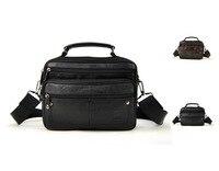 Men Vintage Genuine Cow Leather Shoulder Bag Retro Cross Body Classic Messenger Multi Zip Compartment Satchel