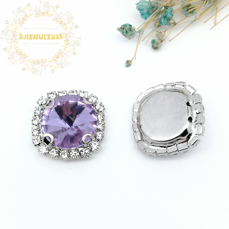 Crystal Violet Satellite Shape Drill Side Chain Crysta Glass Sewing Rhinestones with Cla ...