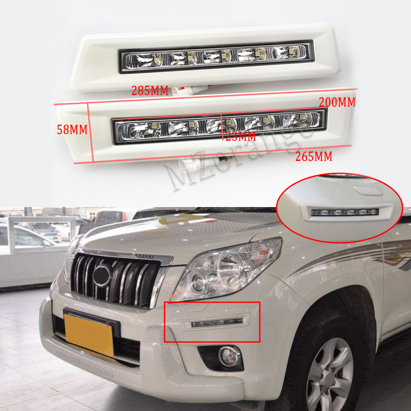 Full set 12v CAR LED DRL Daytime Running Light for Toyota Prado FJ150 LC150 2010 2011 2012 2013 Land Cruiser 2700/4000 car parts bumper protector guard skid plate for toyota prado fj150 2010 2011 2012 2013