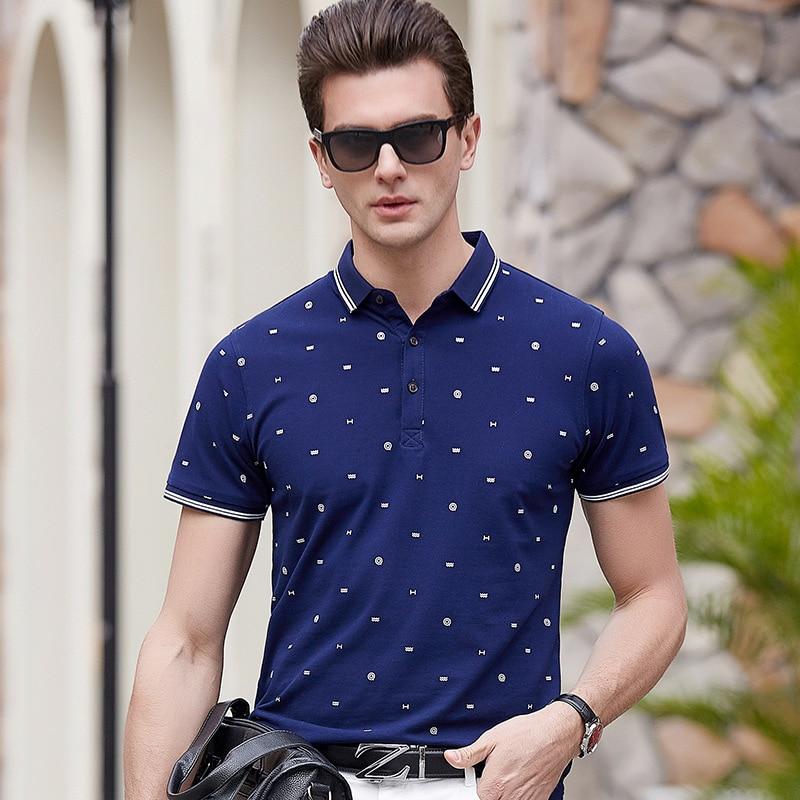 New 2018 Brand   POLO   Shirt Men Fashion Geometric Printed Camisa   Polo   Summer Short-sleeve Casual Shirts plus size 3XL