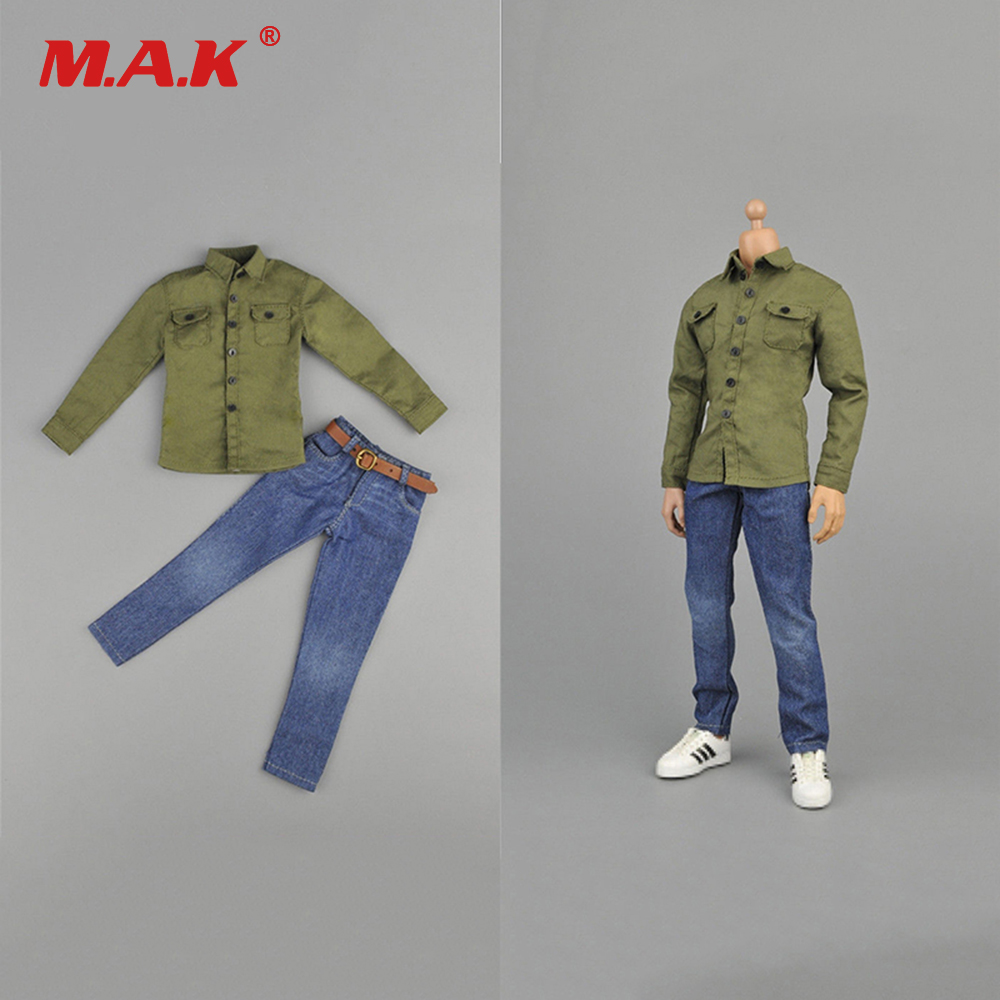 1/6 Scale Male Clothes Suit Army Green coat & Blue Jeans Pants Set for 12 inches Man Action Figure Body