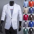 Hombres Blazer 2015 Nueva Llegada Solo Botón de Moda Chaquetas Para Hombre Trajes de Moda de Corea Slim Fit de Lino Rojo Blanco Blazer Jacket barato