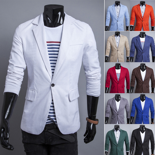 Men Blazer 2015 New Arrival Single Button Trendy Mens Blazers Slim Fit Linen Suits Korean Fashion Red White Blazer Jacket Cheap