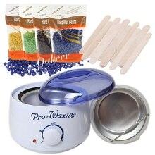 Kit de chauffe cire chaude sécurité température constante épilation indolore Machine de chauffage de cire (500cc)+ 100g haricots de cire dure