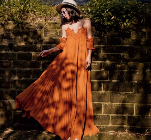 Free Shipping Plus Size Fashion Hot Sale V Collar Off Shoulder Hollow-out Pleated A Patterned Chiffon Long Dress Orange