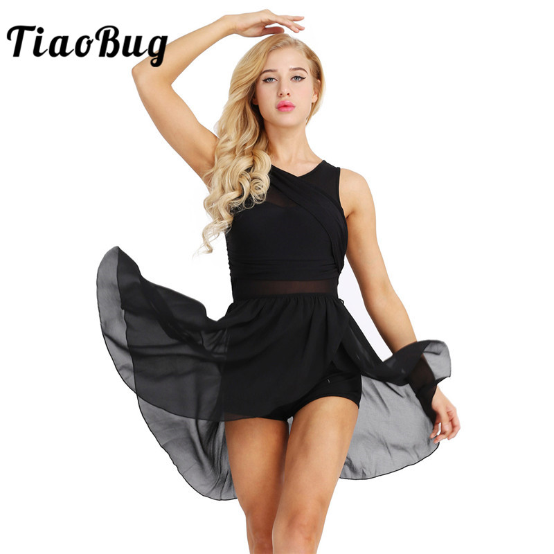 <font><b>TiaoBug</b></font> Women Sleeveless Asymmetrical Cutout Chiffon Stretchy Ballet Tutu Dress Adult Gymnastics Ballerina Dance Leotard Dress image