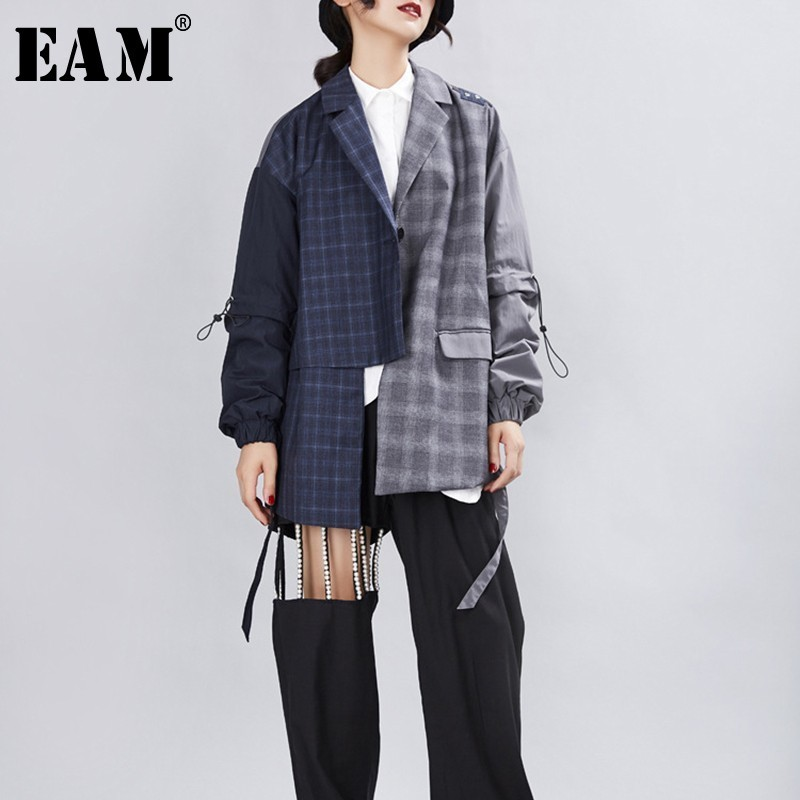[EAM] 2020 New Spring Autumn Turn-down Collar Long Sleeve Hit Color Spliced Plaid Personality Jacket Women Coat Fashion JX694