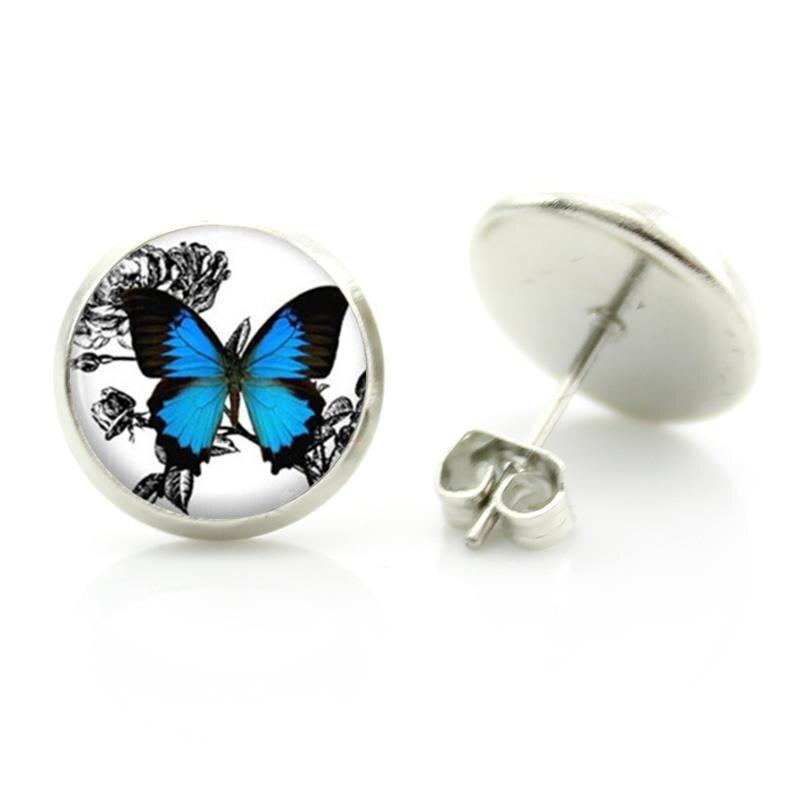 Romantische weiße und blaue schmetterling kunst bild glas halskette - Modeschmuck - Foto 3