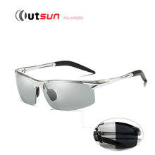 OUTSUN Polarisierte Photochromen Sonnenbrille Männer Hohe Qualität Aluminium-magnesium-rahmen UV400 Polaroid Beschichtung Oculos De Sol