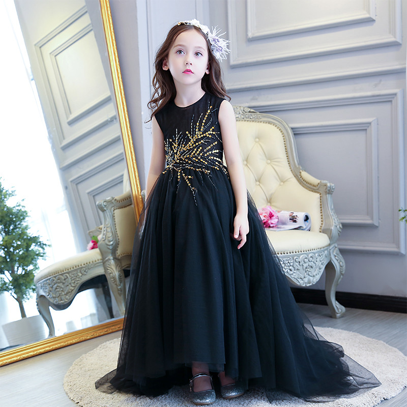 Summer New Luxury Girl Black Mermaid Dress Sequined Royal Party Dress Long Tailing Teens Pageant Dress Birthday Catwalk Show summer spring woman dress black white dog face pattern sequined beading chest black deep pink dress over knee cute cotton dress