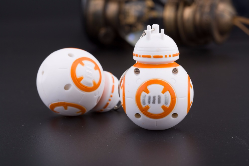 New Star Wars The Force Awakens BB8 BB-8 Droid Robot Darth vader LED flashlight keychain Figure stormtrooper Clone Strap toys