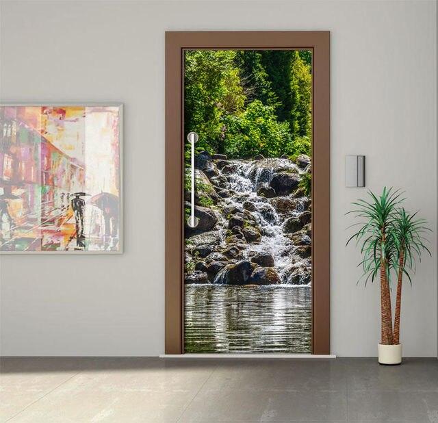 DIY 3D Adesivos De Parede Quarto Mural Home Decor Poster PVC Floresta  Cachoeira Porta À Prova