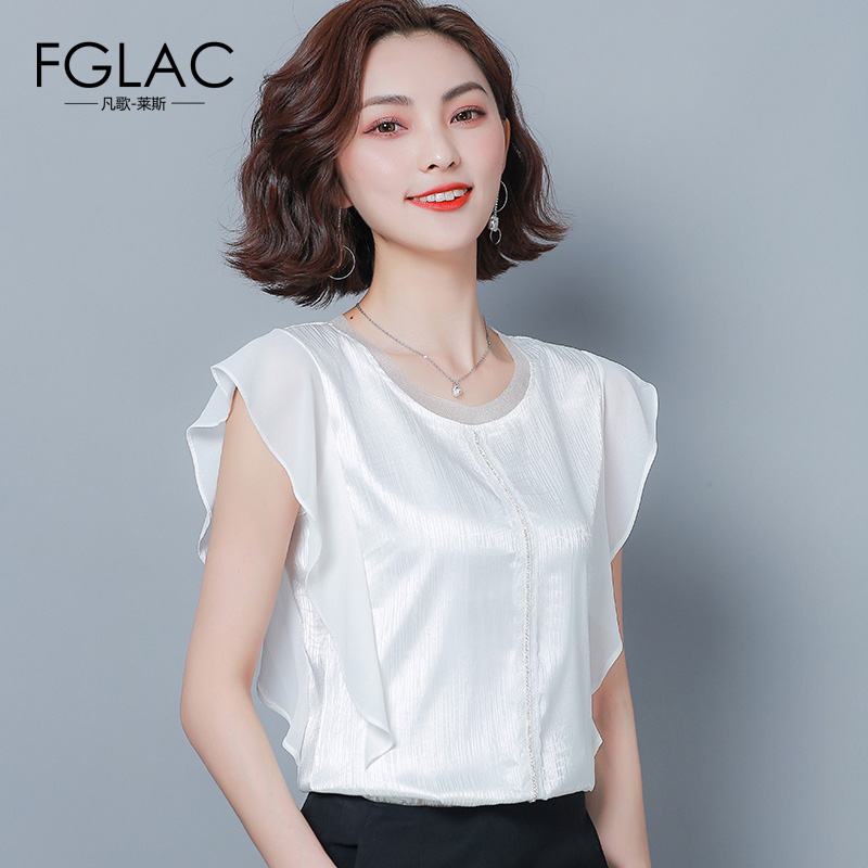 FGLAC Women   blouse     shirt   Fashion casual short sleeve ruffle   blouses   O-Neck loose plus size chiffon   blouse   women tops