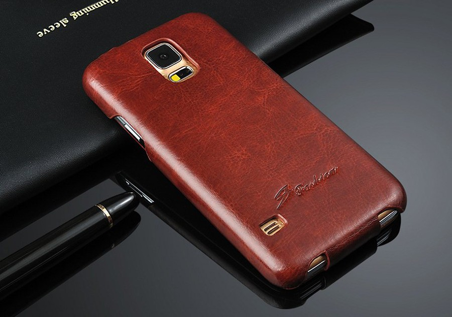 Genuine Leather Case for Samsung Galaxy S5 Vertical Flip Fundas with Gift Screen Protector Top