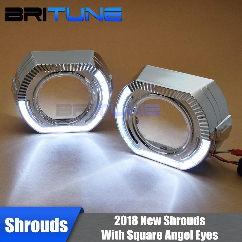 Square LED Angel Eyes Newest X5 Shrouds 2.5/3.0'' Daytime Running Lights Irregular Masks For WST Q5 Bi-xenon Projector lens
