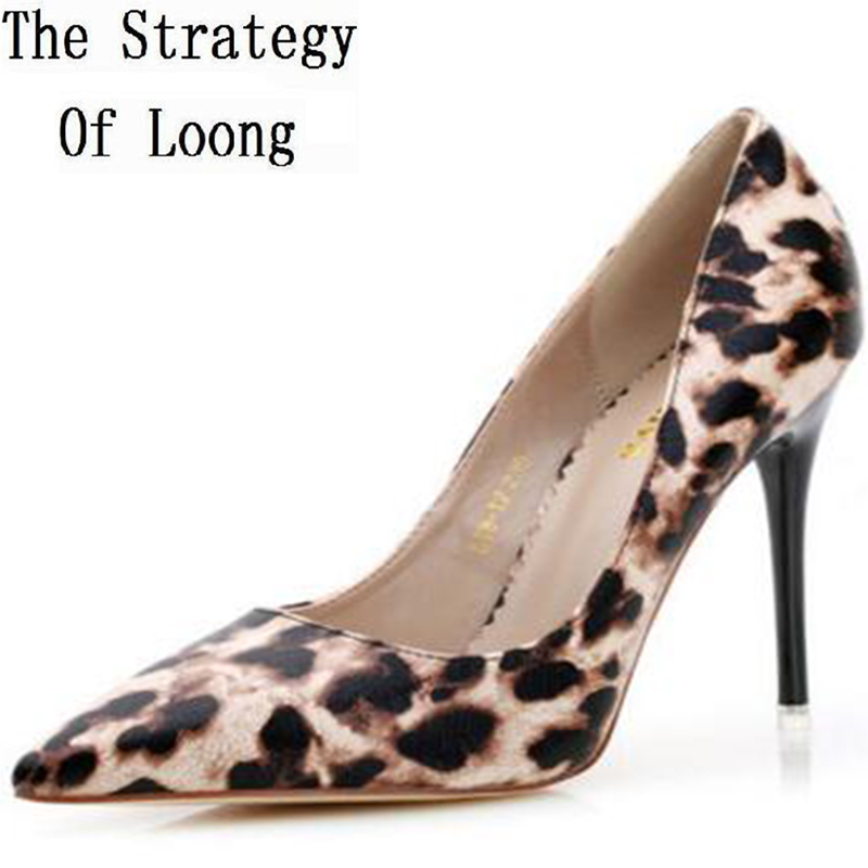 Women Pointed Toe Leopard Print Thin High Heel Sexy Single Shoes High-end Fashion Shallow Mouth Grace High Heel New Shoes pointed toe high heels nubuck leather winter deep mouth thin heel big size mature leopard print stilletos shoes for women