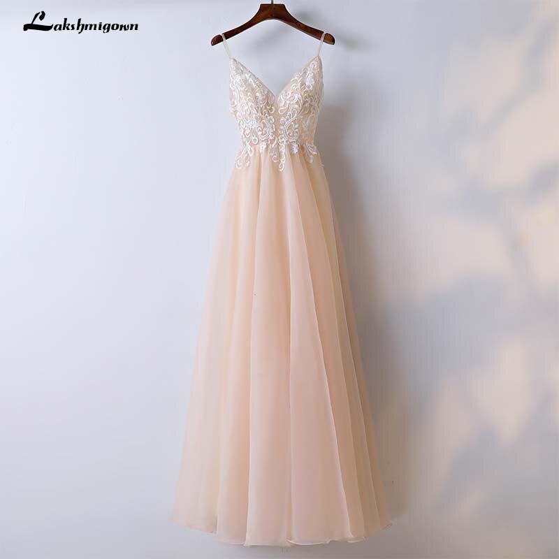 Hot Sale Beach Wedding Dress V Neck Lace A Line Champagne Wedding