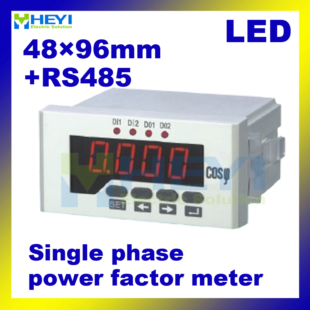 HY-H single phase LED digital display COS meter with RS485 communication power factor meters me 3h61 72 72mm led display 3 phase digital power factor meter support switch input and transmitting output