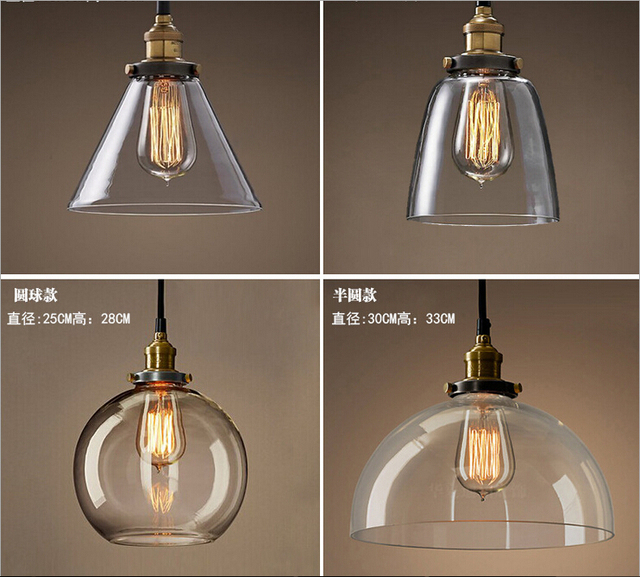 New Retro Glass Ceiling Lamps Led Living Room Dining Lamp E27
