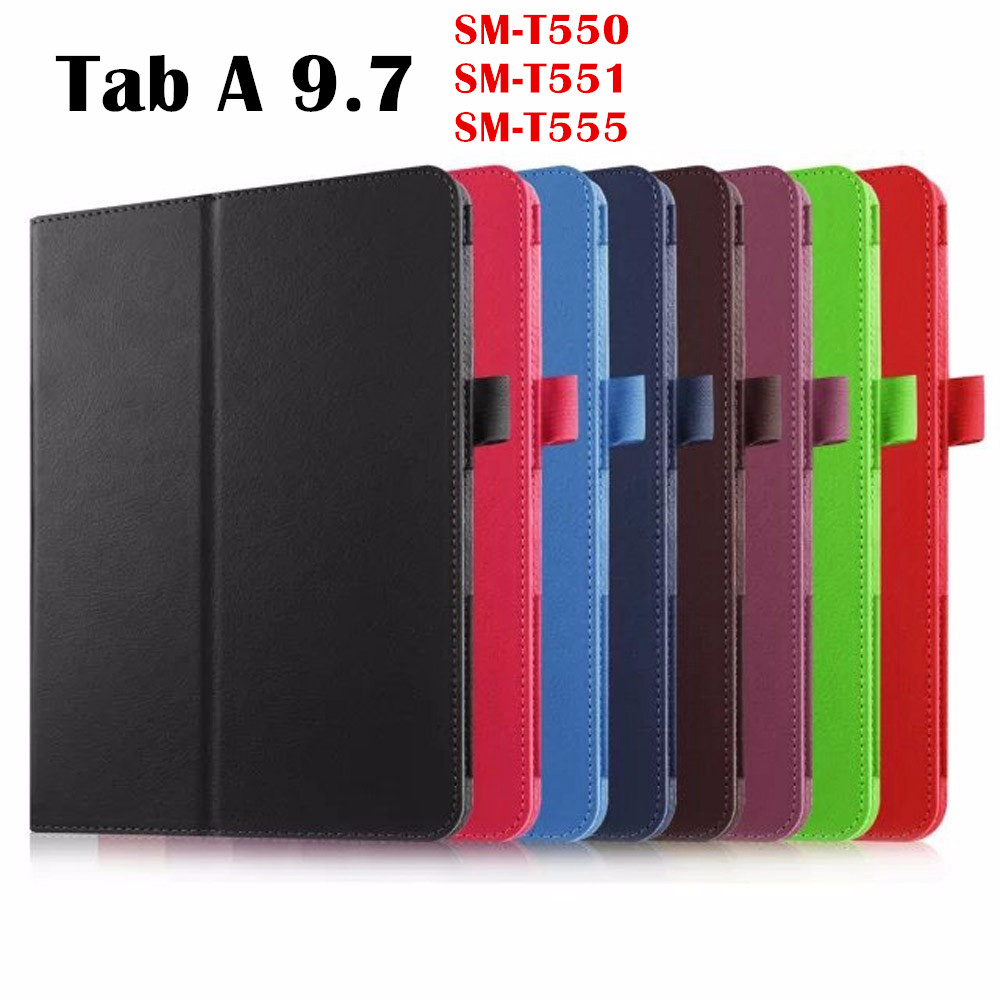 все цены на Litchi PU Leather case Smart Cover For Samsung Galaxy Tab A 9.7 inch T555 SM-T550 T551 tablet case Protective shell skin bag онлайн