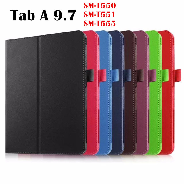 Litchi PU Leather case Smart Cover For Samsung Galaxy Tab A 9.7 inch T555 SM-T550 T551 tablet case Protective shell skin bag