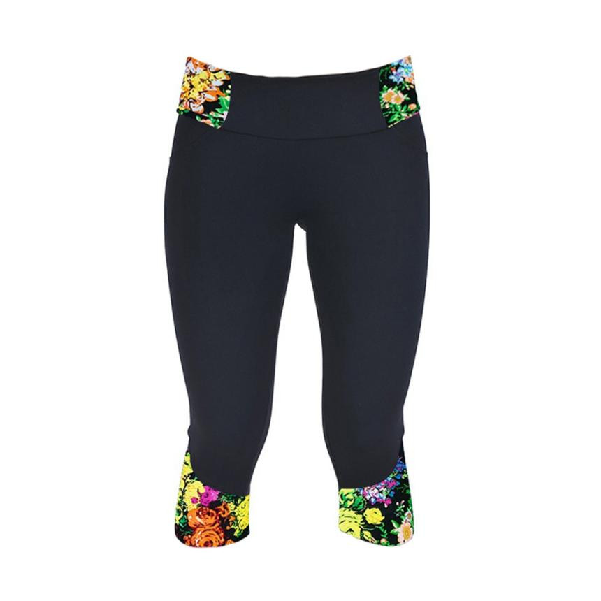 Vente chaude 2016 Brand New Mode Fleur Impression Mi Taille Leggings Étiré Leggins  Pour Femme Fitness 7 Point Legging Capris   OR1 c9fba2eae87