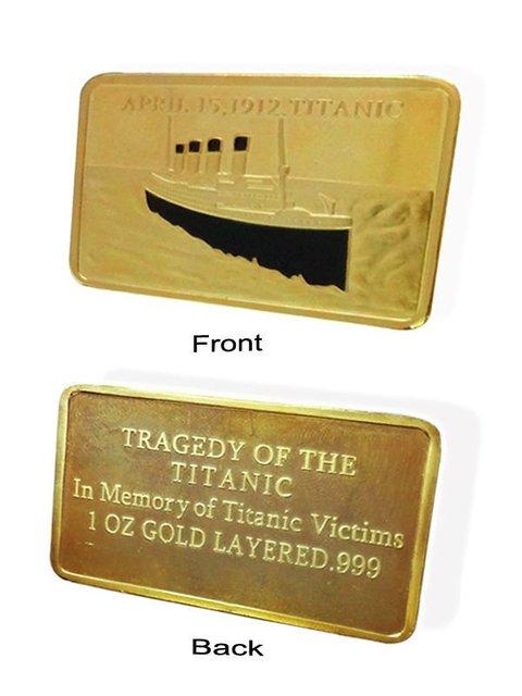HOT SALE Free shipping 1oz titanic gold plated, bullion bar wholesale 100pcs/lot,100th Anniversary of the Titanic