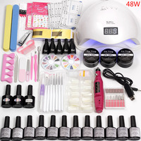 Nail Builder Acrylic Art Tools Kit Electric Manicure Set Machine Handle Accessories with Nail Lamp Dry 12 Color Gel Nails Design