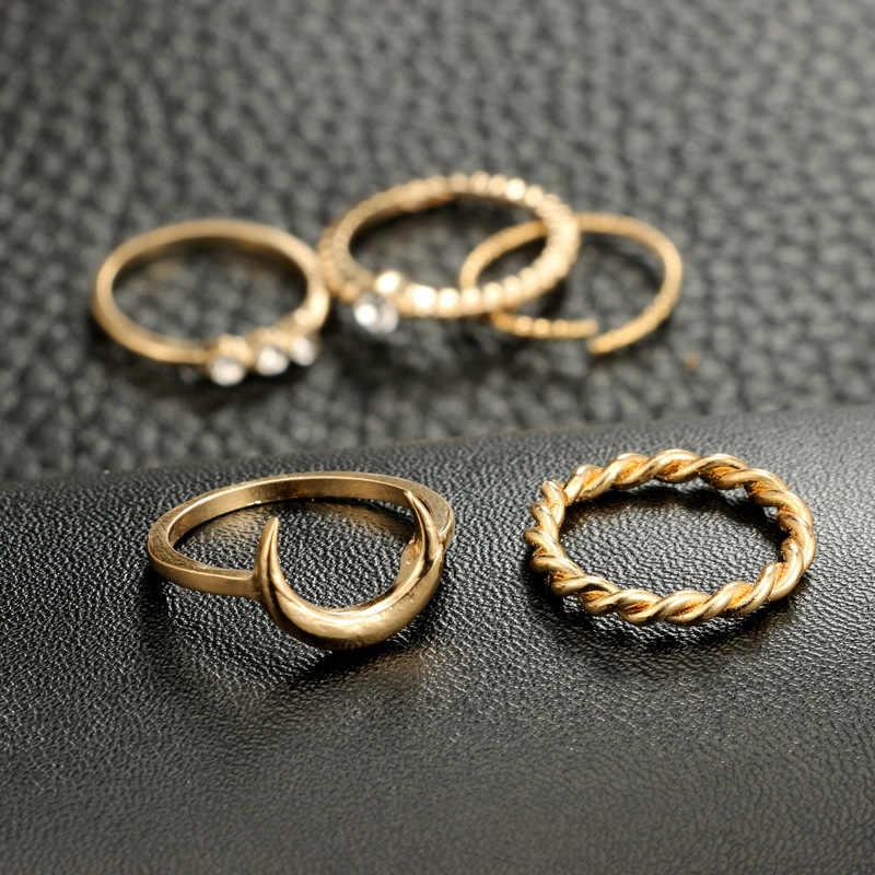 חדש קוריאני פשוט טמפרמנט ירח סגסוגת טבעת משובץ ריינסטון זירקון knuckle טבעת שילוב של חמש ניטראלי קוקטייל טבעת