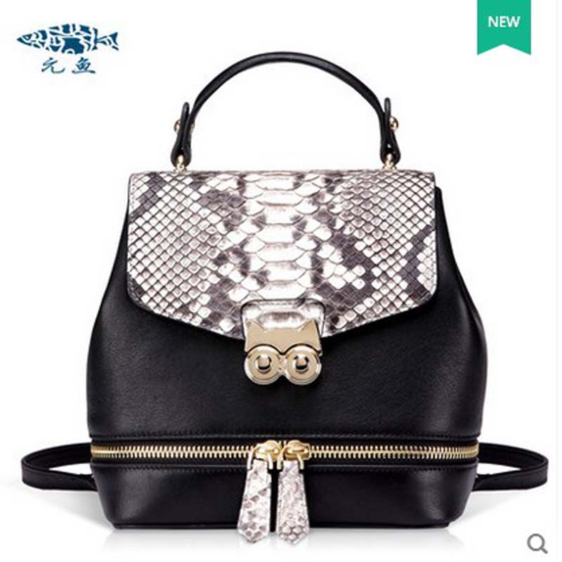 2018 yuanyu  New Snake skin leather boa constrictor leather sinfgle shoulder bag snake skin  single shoulder women handbag per se two tone snake skin pants