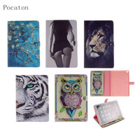 Painted Owl Lion Tiger Girl Flip Case For IPad 2 3 4 Cover Ultra Slim Tablet
