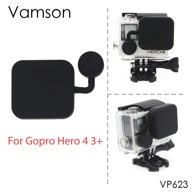 Vamson for GoPro Accessories Housing Protective Waterproof Case Silicone Lens Cover For Go Pro Hero 4 3+ Camera Black VP623
