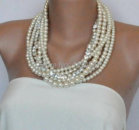 Wholesale Pearl Jewelry Brides Wedding Ivory Pearl Necklace With Crystal Rhinestones Beads Necklacce - Handmade -  XZN146Wholesale Pearl Jewelry Brides Wedding Ivory Pearl Necklace With Crystal Rhinestones Beads Necklacce - Handmade -  XZN146